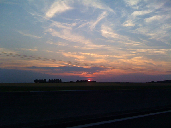 Sunset Drive on the A4 back to Antwerp