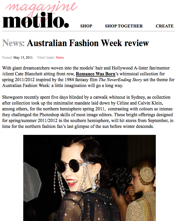 Motilo dot com magazine report on Sydney Fashion Week