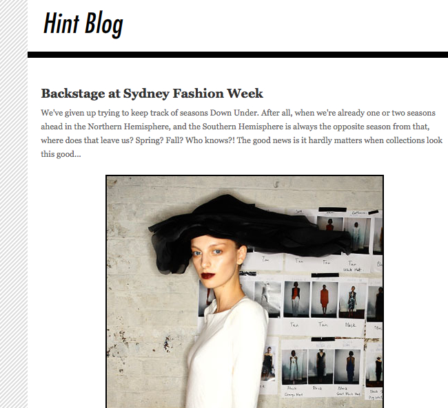 Hint mag reports on Sydney Fashion Week