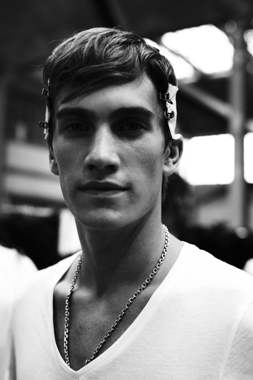Riccardo Tesci's Givency SS13 Boys Backstage in B&W