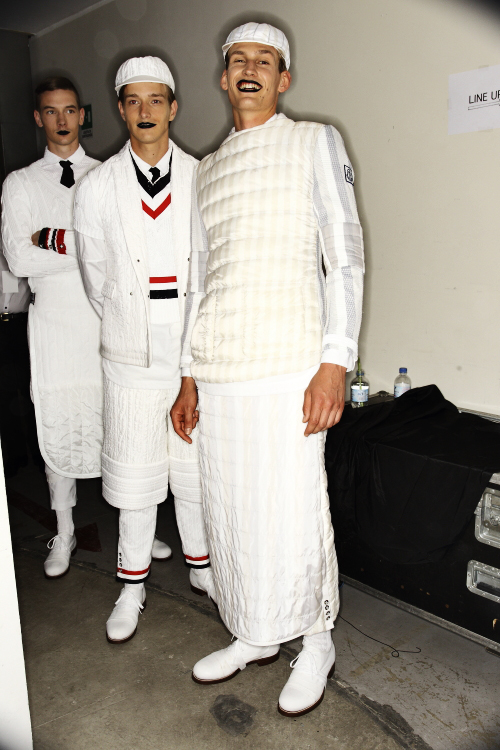 Moncler Gamme Bleu, by Thom Browne SS14 Men Fashion Show Backstage