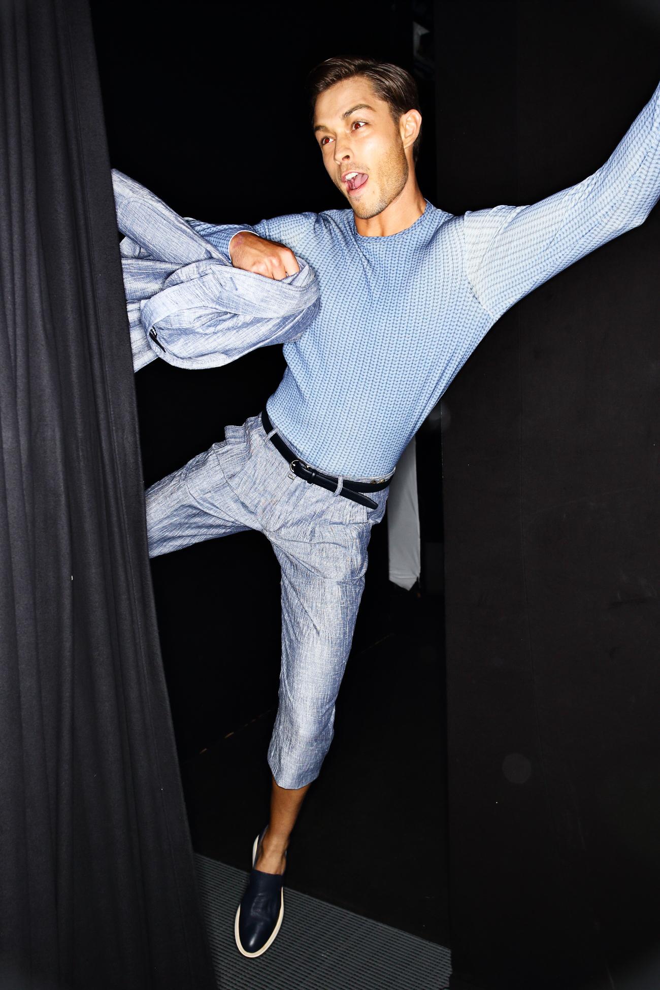 Giorgio Armani SS16 Men Fashion Show Milan Backstage