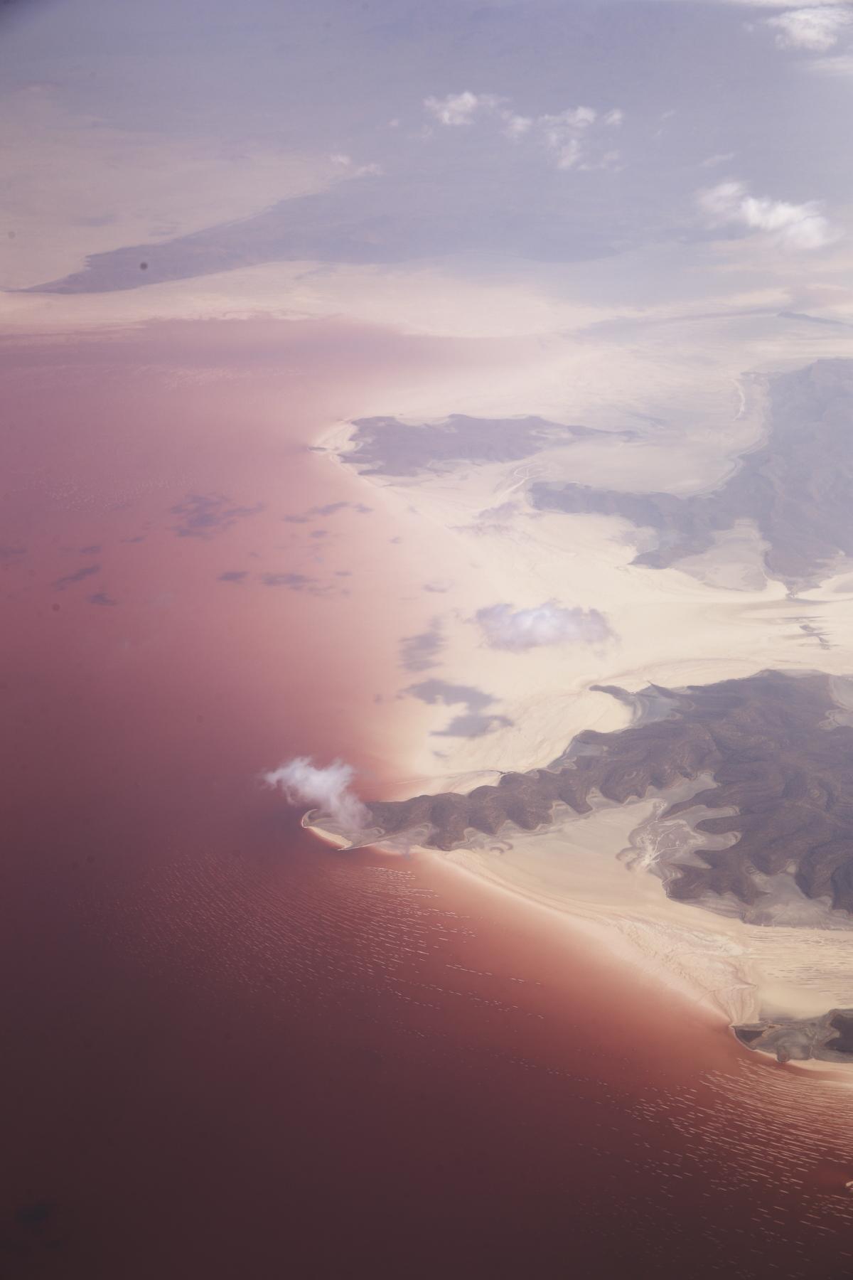 Dubai > Brussels Flying past Lake Urmia, Iran