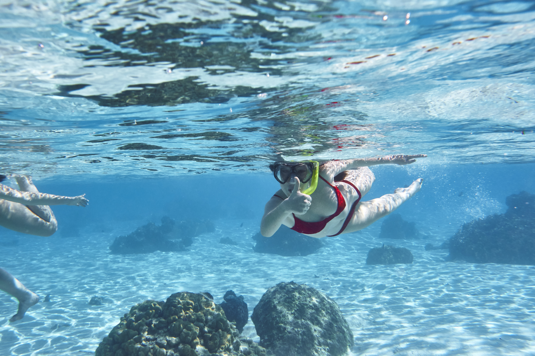 Temae Beach, Mo'orea, Tahiti, exploring underwater with Belle and India